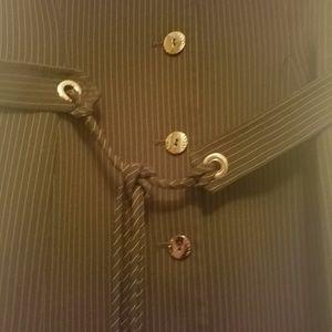 Tahari Dresses - Tahari Dress 8 black and tan pinstripe w/ belt